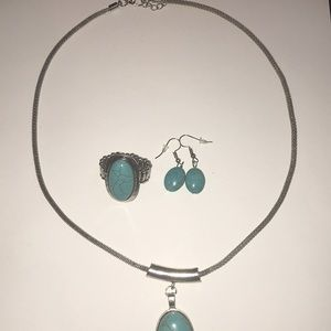 southwestern style necklace, earring, and ring set